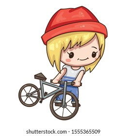 Vector illustration of cute chibi character isolated on white background. Cartoon girl in sportswear isolated on white background. Girl with bicycle.