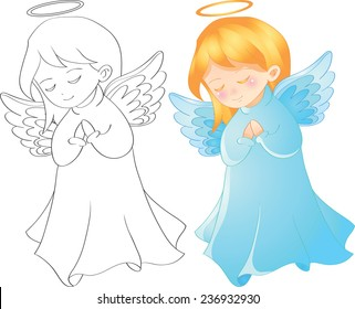 Vector illustration cute christmas angel character tell prayer, outline page for coloring book