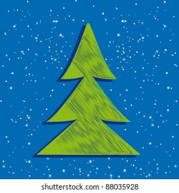 Vector illustration of cute Christmas tree greeting card