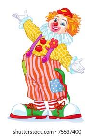 Vector illustration, cute clown, cartoon concept, white background.