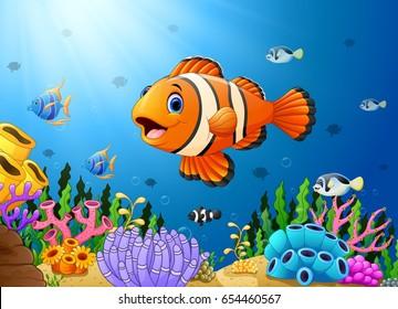 Vector illustration of Cute clown fish cartoon in the sea