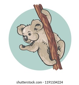 Vector illustration of cute coala sitting on a tree