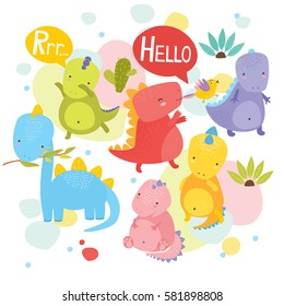 vector illustration. cute colorful dinosaurs for kids. dino say hello