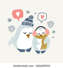Vector illustration of cute couple of penguins hugging and wearing warm clothes - hat, headphones, scarf. Valentines day animals illustration. Cute penguins couple in love.
