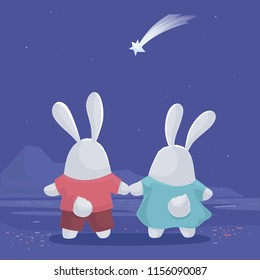 Vector illustration with cute couple  rabbits hold hands for each other and staring for the falling star at night blue sky