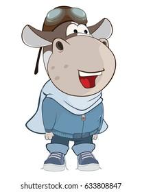 Vector Illustration of a Cute Cow Aircraft Pilot. Cartoon Character