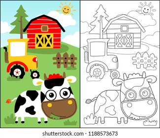 vector illustration with cute cow in the farm field, coloring book or page