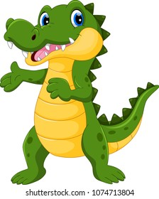 Vector illustration of cute crocodile cartoon isolated on white background
