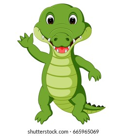 vector illustration of Cute crocodile cartoon
