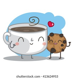 Vector illustration with cute cup of coffee and sweet cookie. Chocolate cookie loves hot coffee.