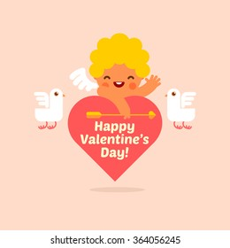 Vector illustration of cute cupid on the heart word for happy valentines day card