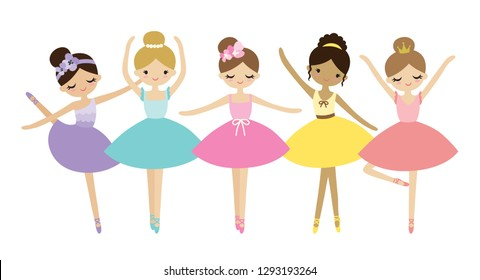 Vector illustration of cute dancing little ballerinas. Prima ballerinas in tutu ballet costumes.
