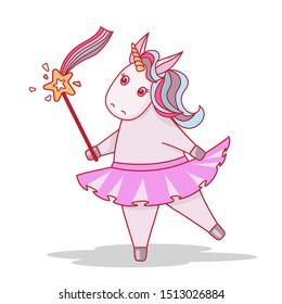 Vector illustration with cute dancing unicorn. Unicorn ballerina.