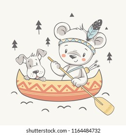 Vector illustration of a cute dog and baby bear Indian with paddle on canoe.