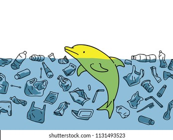 Vector illustration of cute dophin in sea water, surrounding with garbage and plastic in concept of water pollution environmental problem.