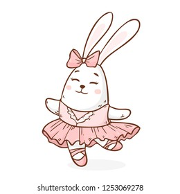 Vector illustration with cute drawing rabbit ballerina dancing and isolated on white background