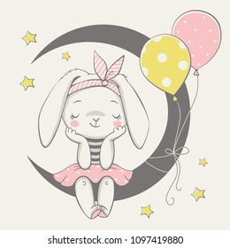 Vector illustration of a cute dreaming bunny girl, sitting on the moon.