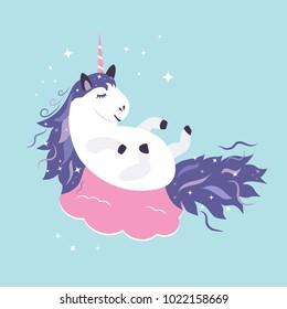 Vector illustration of cute dreaming unicorn
