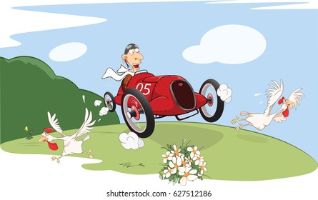 Vector Illustration of a Cute Driven Sports car racing