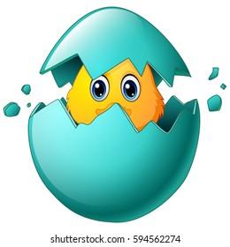 Vector illustration of Cute easter chicks in egg shell
