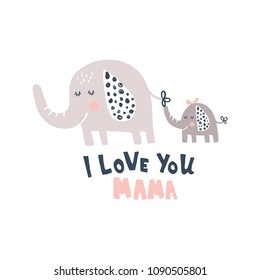 vector illustration cute elephant and baby, hand lettering i love you mama text
