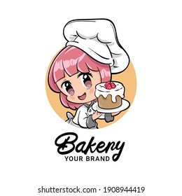 Vector illustration of a cute female bakery or pastry chef presenting raspberry chocolate tart. Can be used as mascot or part of a logo. Drawn in kawaii chibi style.