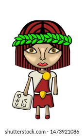 Vector illustration of a cute female scholar character with laures and tablet