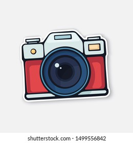 Vector illustration. Cute film retro photo camera. Modern digital device with lens in vintage style. Sticker with contour. Isolated on white background