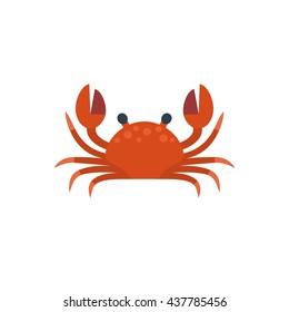 Vector illustration of cute flat crab. Isolated on transparent background.
