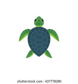 Vector illustration of cute flat sea turtle.