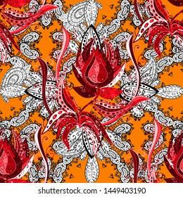 Vector illustration. Cute Floral pattern in the small flower. Flowers on orange, white and red colors.