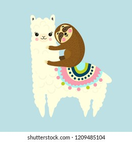 Vector Illustration of cute fluffy cartoon llama or alpaca and sloth. Best friends. Childish print for fabric, t-shirt, poster, cards, invitations, cases, pattern, patch and sticker