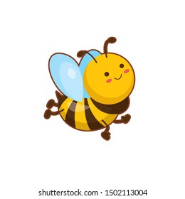 Vector illustration of cute flying  bee  on white background