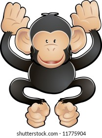 A vector illustration of a cute friendly chimpanzee