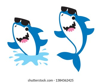 Vector illustration of cute friendly shark wearing sunglasses jumping out of the sea in summer.