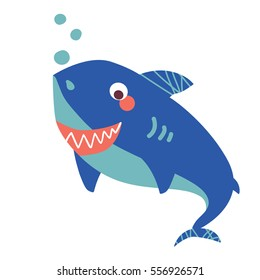 A vector illustration of cute friendly shark, big blue smiling shark. Cartoon character.