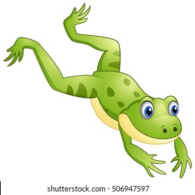 Vector illustration of Cute frog cartoon leaping
