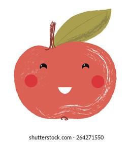 Vector illustration of a cute fruit - apple