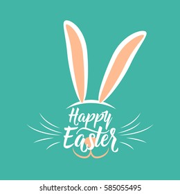 Vector illustration of cute fun happy easter greeting with easter bunny ears, mustache, nose, mouth and hand drawing lettering greeting text sign isolated on color background