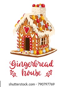 Vector illustration of a cute gingerbread house in cartoon style. Christmas baking