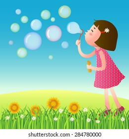 A vector illustration of cute girl blowing bubbles