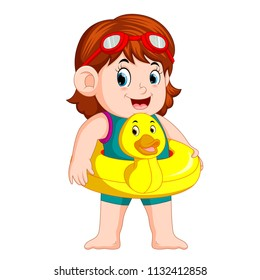 vector illustration of cute girl with duck flotation ring