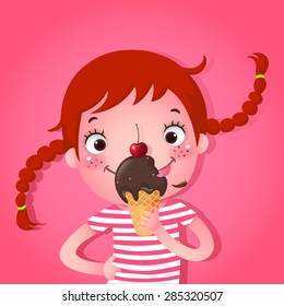 A vector illustration of cute girl eating ice-cream