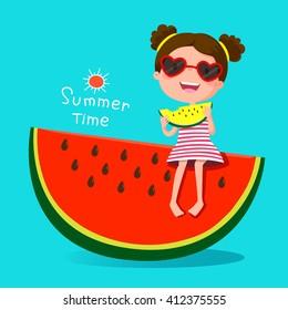 Vector illustration of cute girl eating watermelon