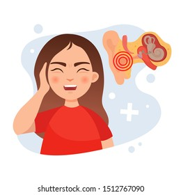 Vector illustration of a cute girl holding her ear. Ear disease concept. Anatomy of the ear.