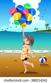 A vector illustration of cute girl holding balloons on the beach
