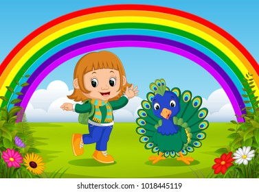 vector illustration of cute girl and peacock at park with rainbow scene
