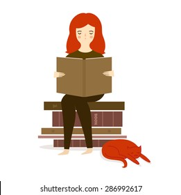 Vector illustration with cute girl reading book with cat.