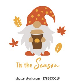 Vector illustration of a cute gnome holding a pumpkin spice latte coffee cup in fall.