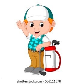 vector illustration of cute golfer cartoon